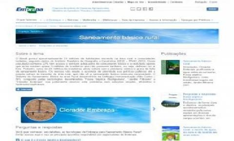 Portal da Embrapa reúne informações sobre saneamento básico rural