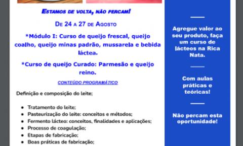 Cursos de Queijos Rica Nata - Curso de Módulo I, Curso de Queijo Curado: Parmesão e Queijo do Reino.