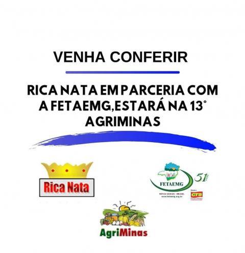 RICA NATA irá expor na décima terceira Feira Estadual da Agricultura Familiar - AGRIMINAS